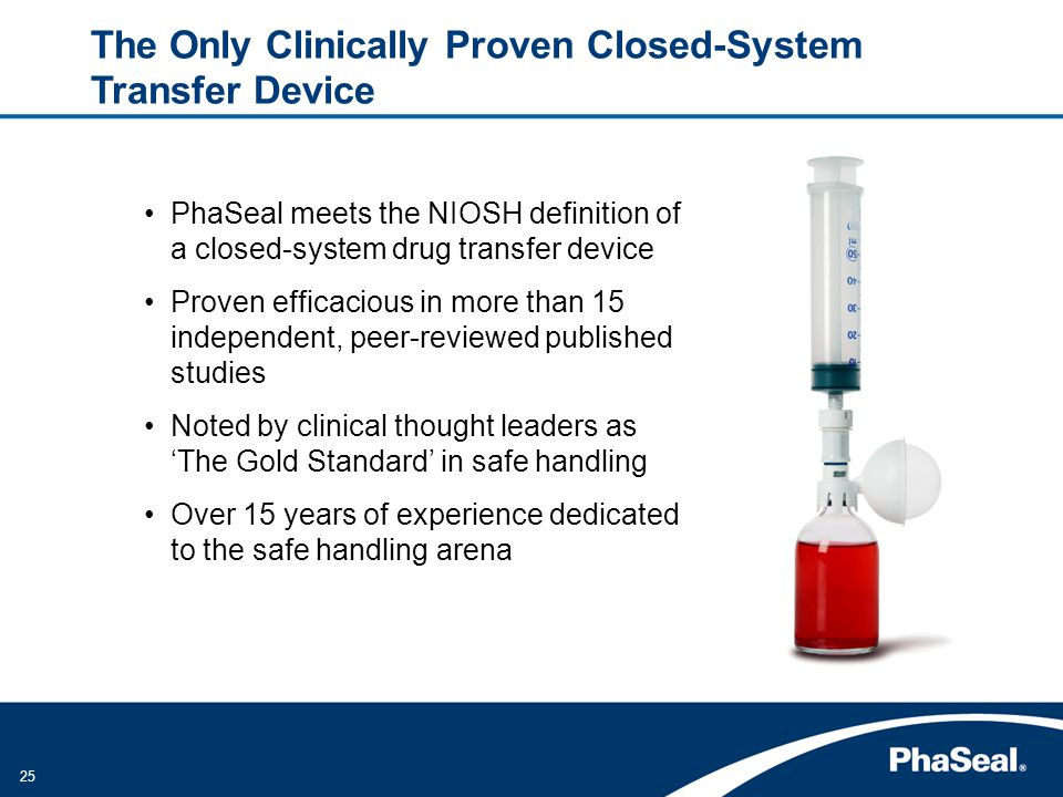 25 PhaSeal meets the NIOSH definition of a closed-system drug transfer device Proven efficacious in more than 15 independent, peer-reviewed published studies Noted by clinical thought leaders as The Gold Standard in safe handling Over 15 years of experience dedicated to the safe handling arena The Only Clinically Proven Closed-System Transfer Device