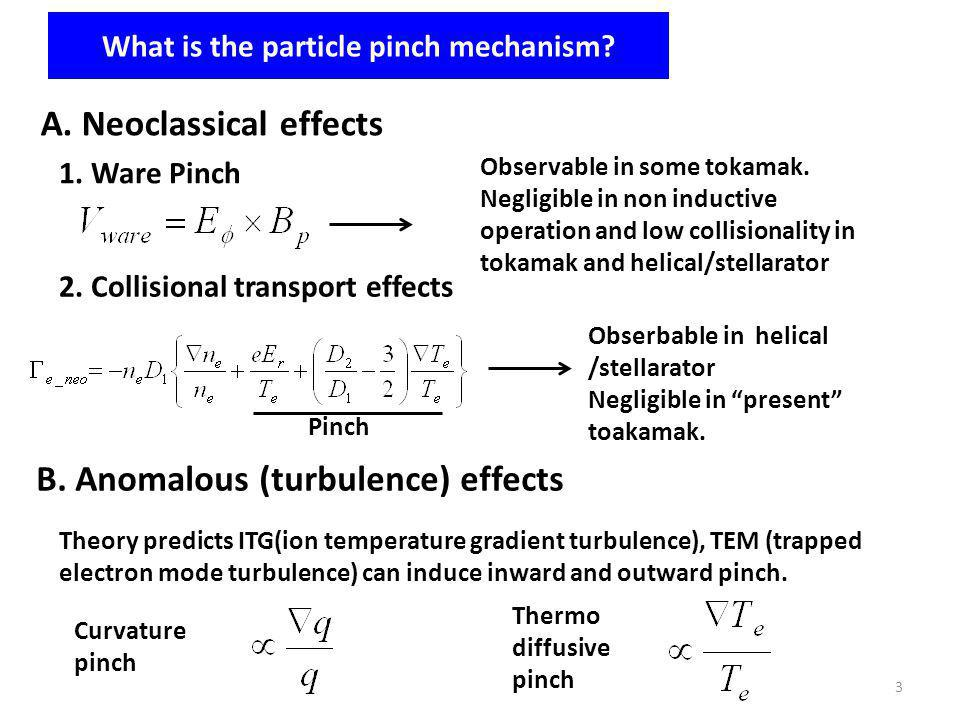 What is the particle pinch mechanism? A. Neoclassical effects 1. Ware Pinch Observable in some tokamak. Negligible in non inductive operation and low