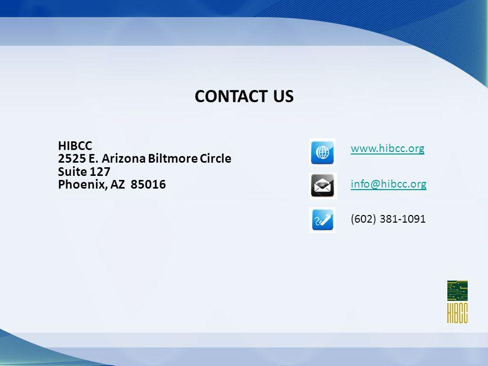 CONTACT US www.hibcc.org info@hibcc.org (602) 381-1091 HIBCC 2525 E.