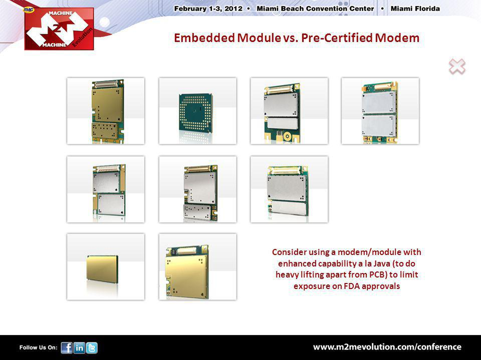 Embedded Module vs. Pre-Certified Modem Consider using a modem/module with enhanced capability a la Java (to do heavy lifting apart from PCB) to limit