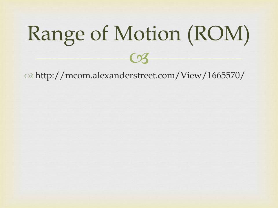 http://mcom.alexanderstreet.com/View/1665570/ Range of Motion (ROM)
