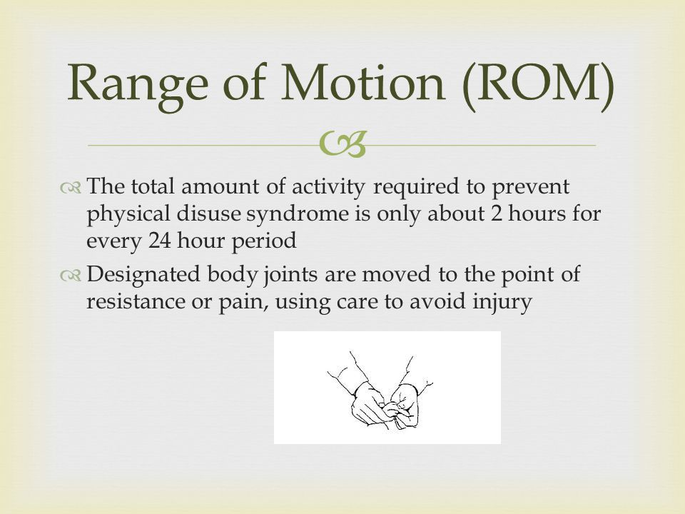The total amount of activity required to prevent physical disuse syndrome is only about 2 hours for every 24 hour period Designated body joints are moved to the point of resistance or pain, using care to avoid injury Range of Motion (ROM)