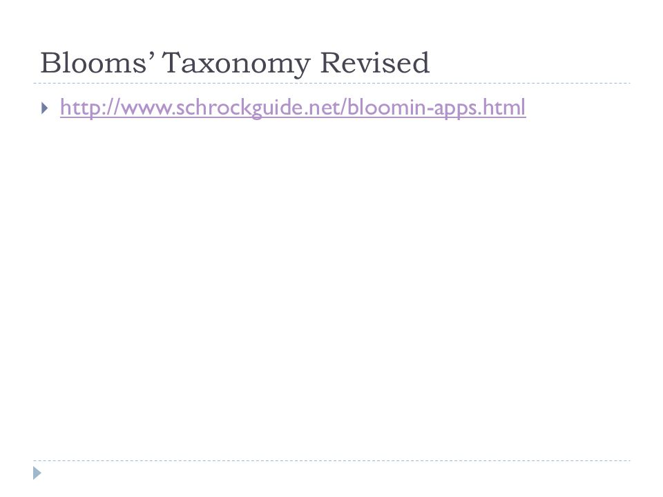 Blooms Taxonomy Revised http://www.schrockguide.net/bloomin-apps.html