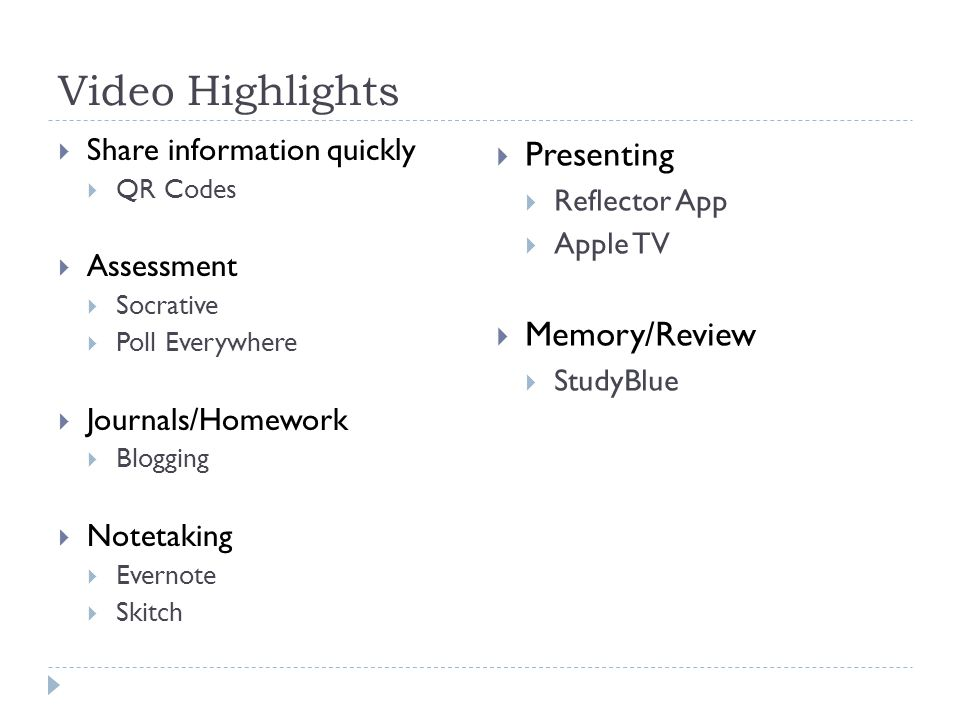 Video Highlights Share information quickly QR Codes Assessment Socrative Poll Everywhere Journals/Homework Blogging Notetaking Evernote Skitch Present