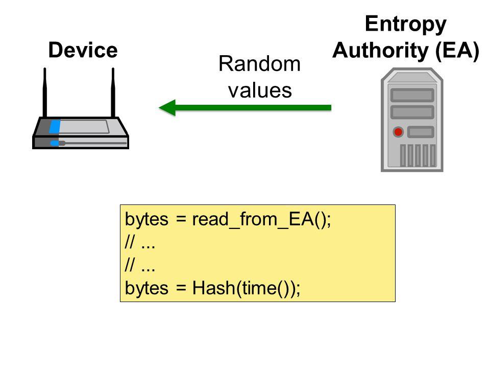 Random values Device Entropy Authority (EA) bytes = read_from_EA(); //... bytes = Hash(time());