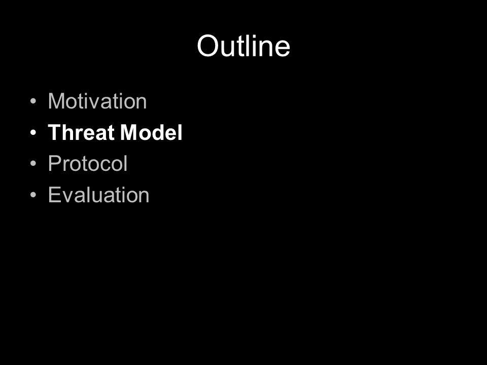 Outline Motivation Threat Model Protocol Evaluation