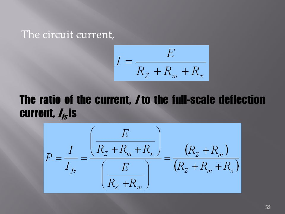 53 The circuit current, The ratio of the current, I to the full-scale deflection current, I fs is