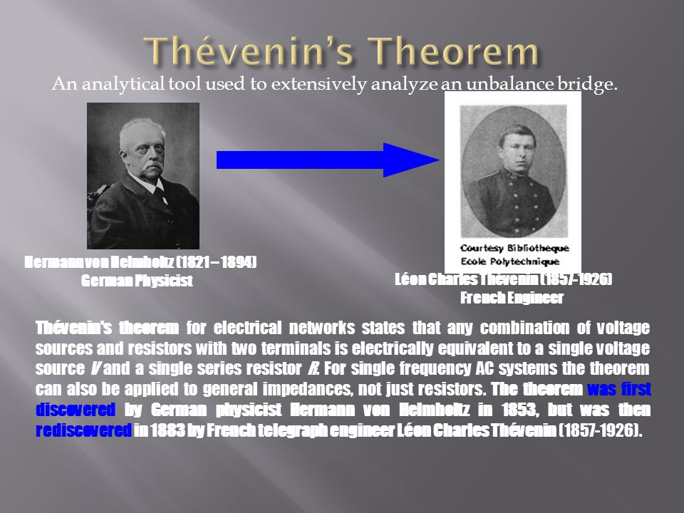 An analytical tool used to extensively analyze an unbalance bridge. Thévenin's theorem for electrical networks states that any combination of voltage