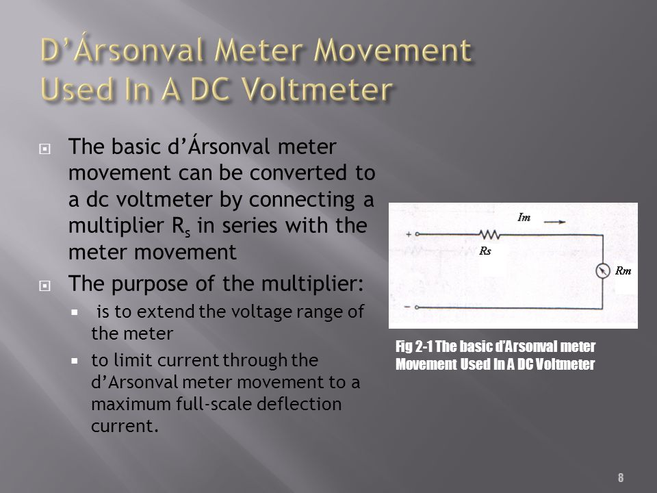 8 The basic dÁrsonval meter movement can be converted to a dc voltmeter by connecting a multiplier R s in series with the meter movement The purpose o