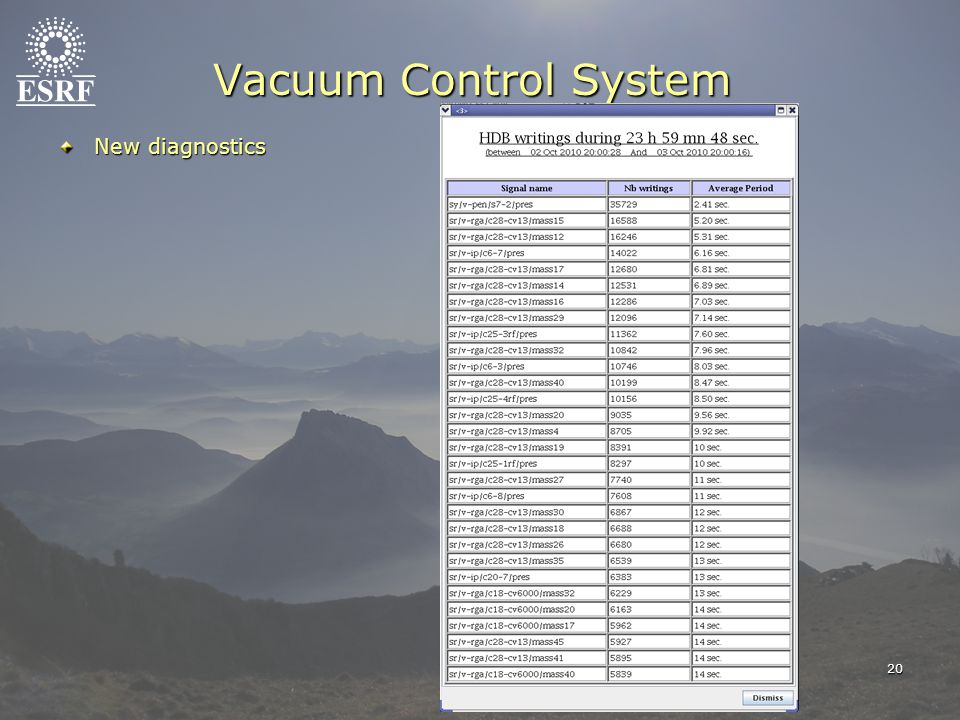 20 Vacuum Control System New diagnostics