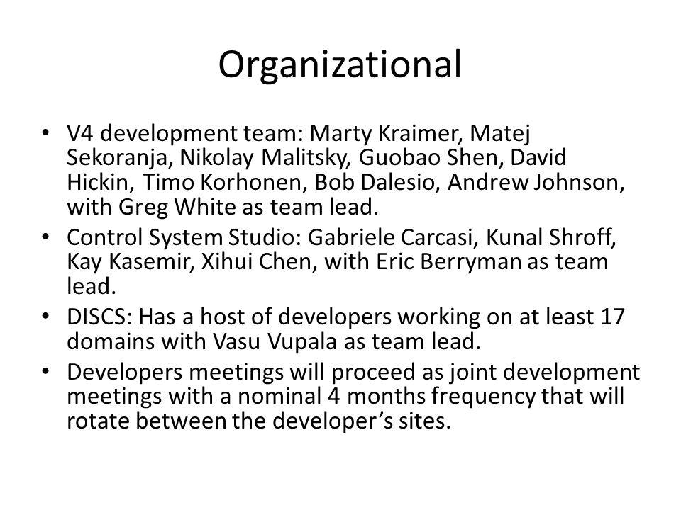 Organizational V4 development team: Marty Kraimer, Matej Sekoranja, Nikolay Malitsky, Guobao Shen, David Hickin, Timo Korhonen, Bob Dalesio, Andrew Johnson, with Greg White as team lead.