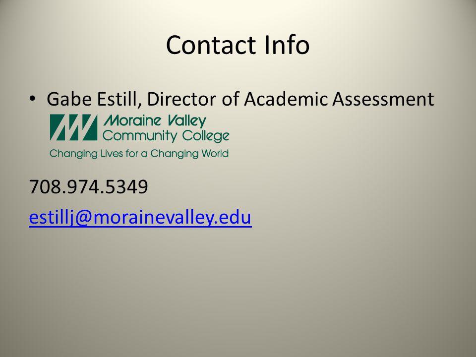 Contact Info Gabe Estill, Director of Academic Assessment 708.974.5349 estillj@morainevalley.edu