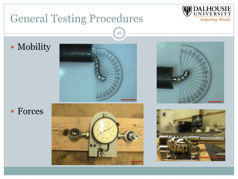 General Testing Procedures 16 Mobility Forces