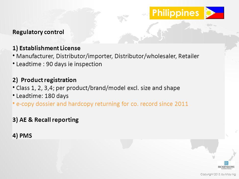 Regulatory control 1) Establishment License Manufacturer, Distributor/importer, Distributor/wholesaler, Retailer Leadtime : 90 days ie inspection 2) P