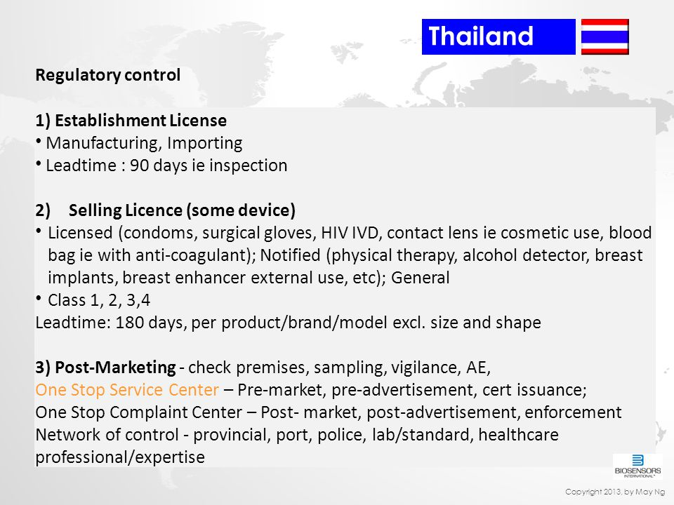 Regulatory control 1) Establishment License Manufacturing, Importing Leadtime : 90 days ie inspection 2)Selling Licence (some device) Licensed (condom