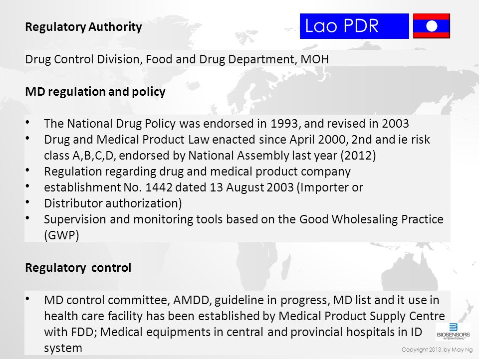 Regulatory Authority Drug Control Division, Food and Drug Department, MOH MD regulation and policy The National Drug Policy was endorsed in 1993, and