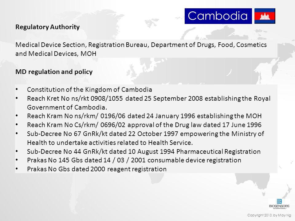 Regulatory Authority Medical Device Section, Registration Bureau, Department of Drugs, Food, Cosmetics and Medical Devices, MOH MD regulation and poli