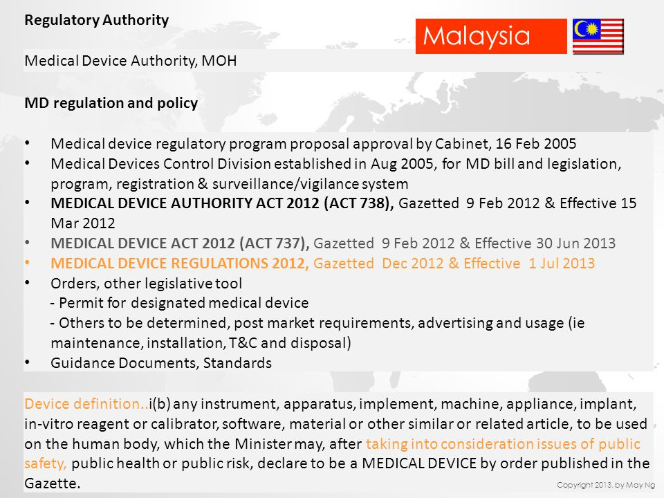 Regulatory Authority Medical Device Authority, MOH MD regulation and policy Medical device regulatory program proposal approval by Cabinet, 16 Feb 200