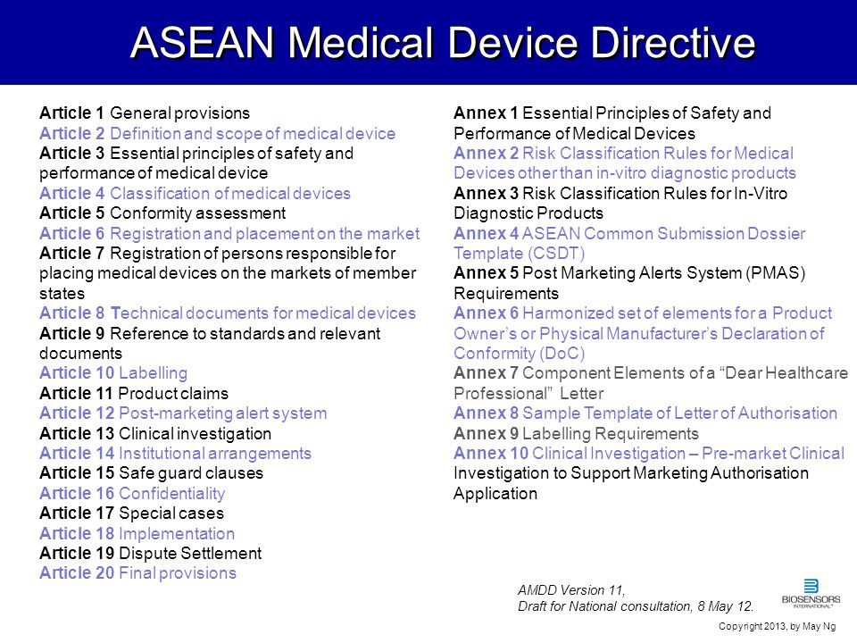 7 ASEAN Medical Device Directive Article 1 General provisions Article 2 Definition and scope of medical device Article 3 Essential principles of safet