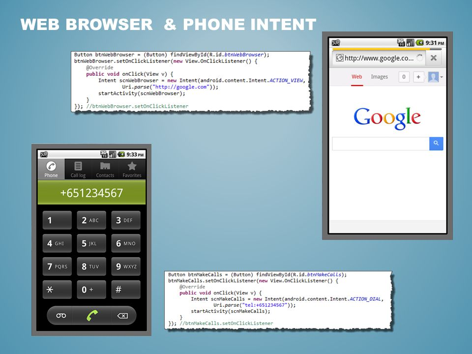 WEB BROWSER & PHONE INTENT
