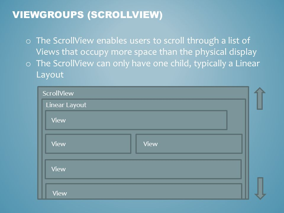 VIEWGROUPS (SCROLLVIEW) o The ScrollView enables users to scroll through a list of Views that occupy more space than the physical display o The ScrollView can only have one child, typically a Linear Layout ScrollView Linear Layout View