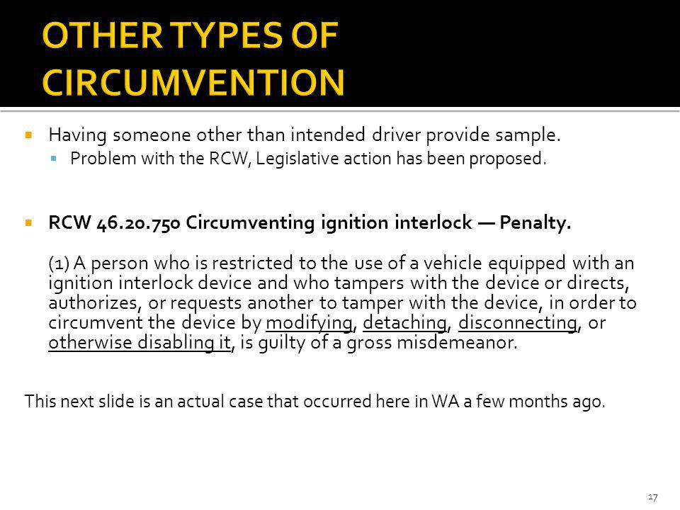 Having someone other than intended driver provide sample. Problem with the RCW, Legislative action has been proposed. RCW 46.20.750 Circumventing igni