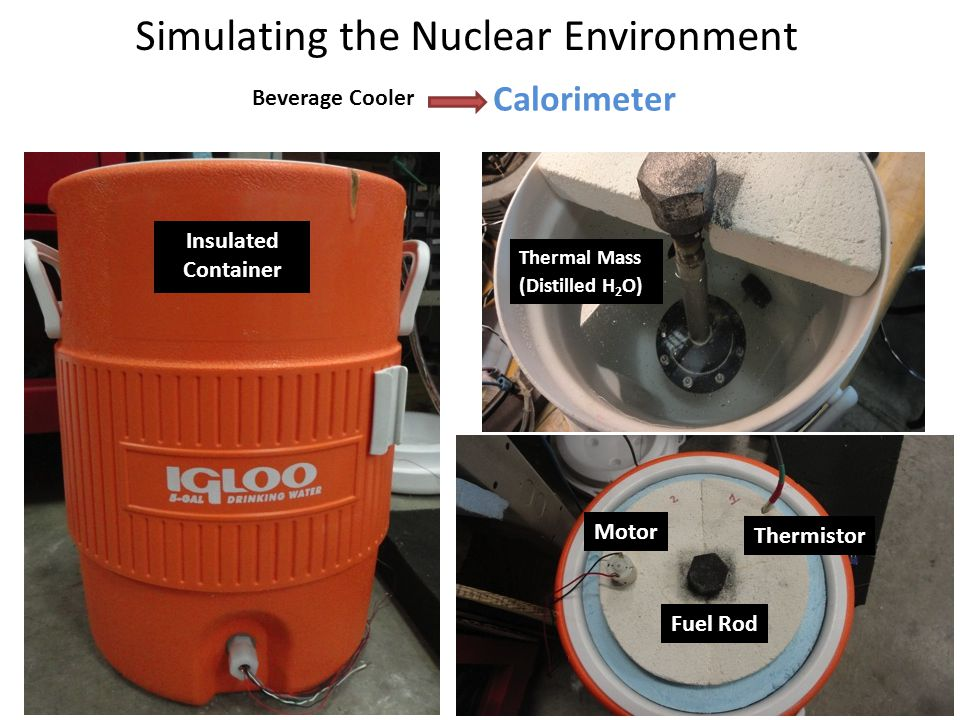Simulating the Nuclear Environment Calorimeter Beverage Cooler Insulated Container Thermal Mass (Distilled H 2 O) ) Thermistor Fuel Rod Motor