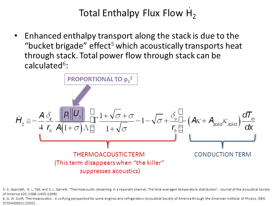 PROPORTIONAL TO p 1 2 Total Enthalpy Flux Flow H 2 Enhanced enthalpy transport along the stack is due to the bucket brigade effect 5 which acousticall