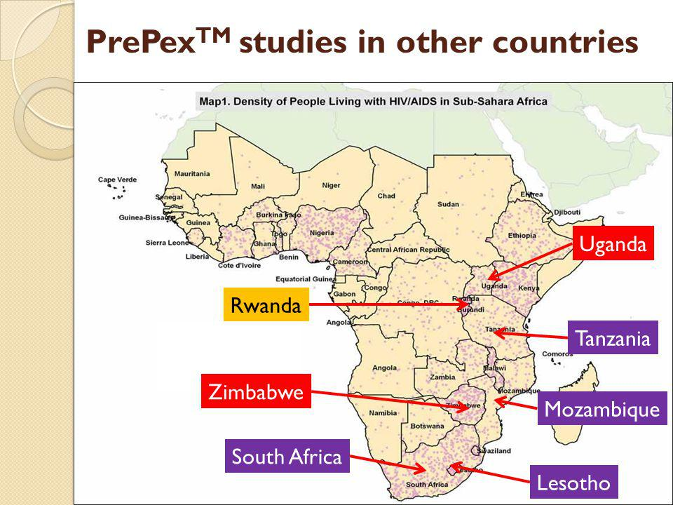 Hh Nn nn Rwanda Tanzania Uganda Zimbabwe South Africa Lesotho Mozambique PrePex TM studies in other countries