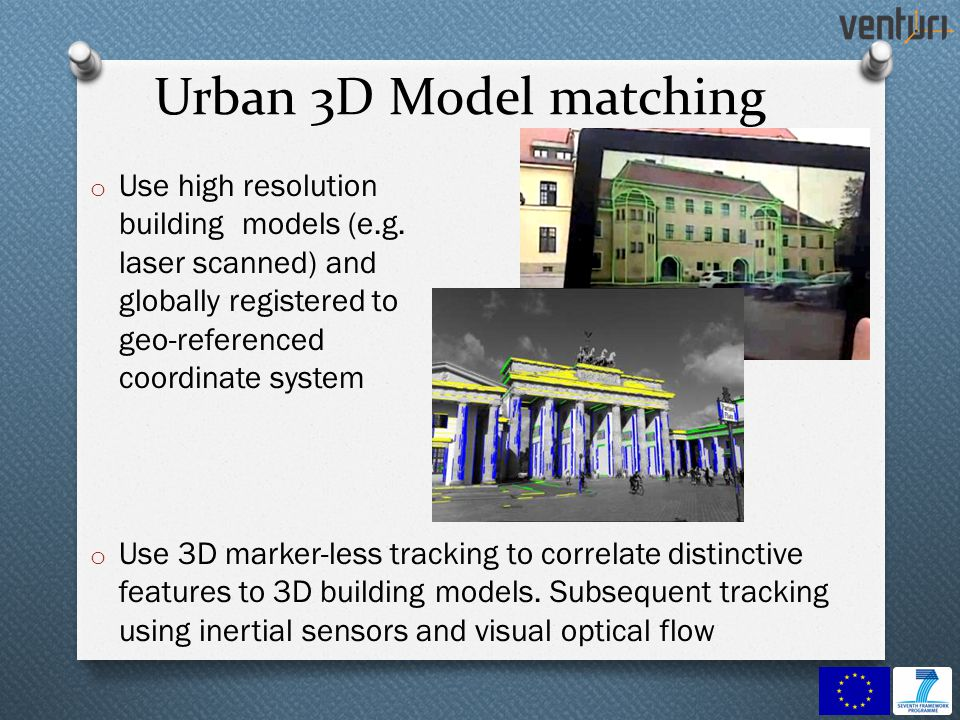 Urban 3D Model matching o Use high resolution building models (e.g. laser scanned) and globally registered to geo-referenced coordinate system o Use 3