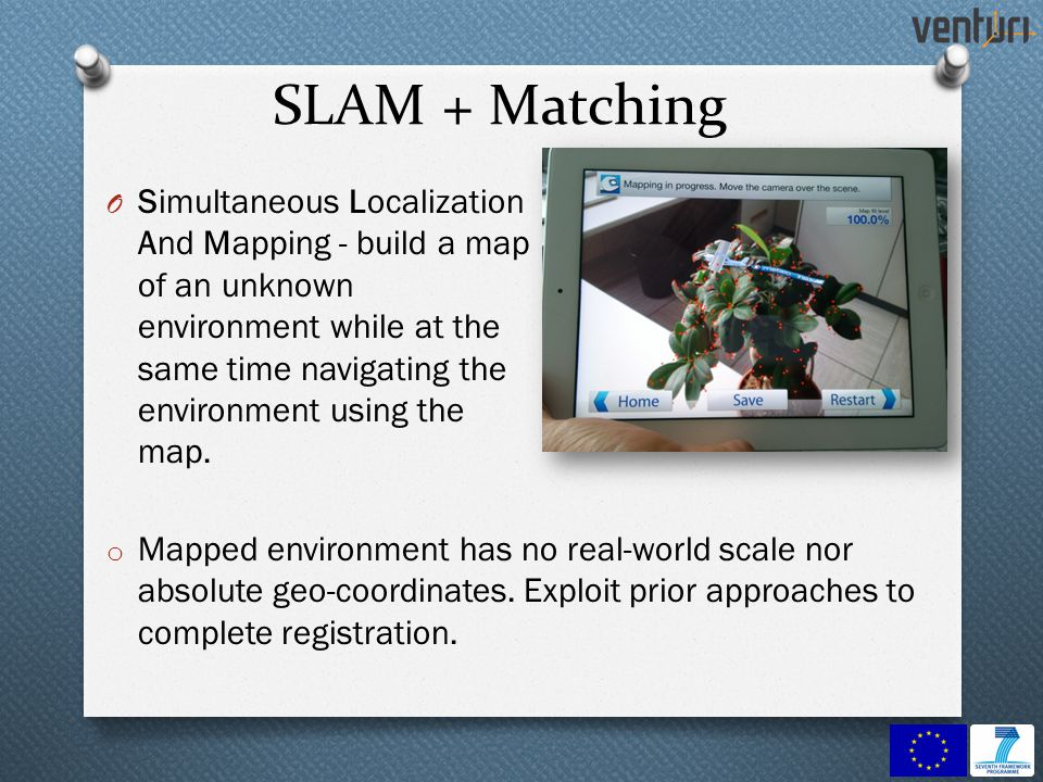 SLAM + Matching O Simultaneous Localization And Mapping - build a map of an unknown environment while at the same time navigating the environment using the map.