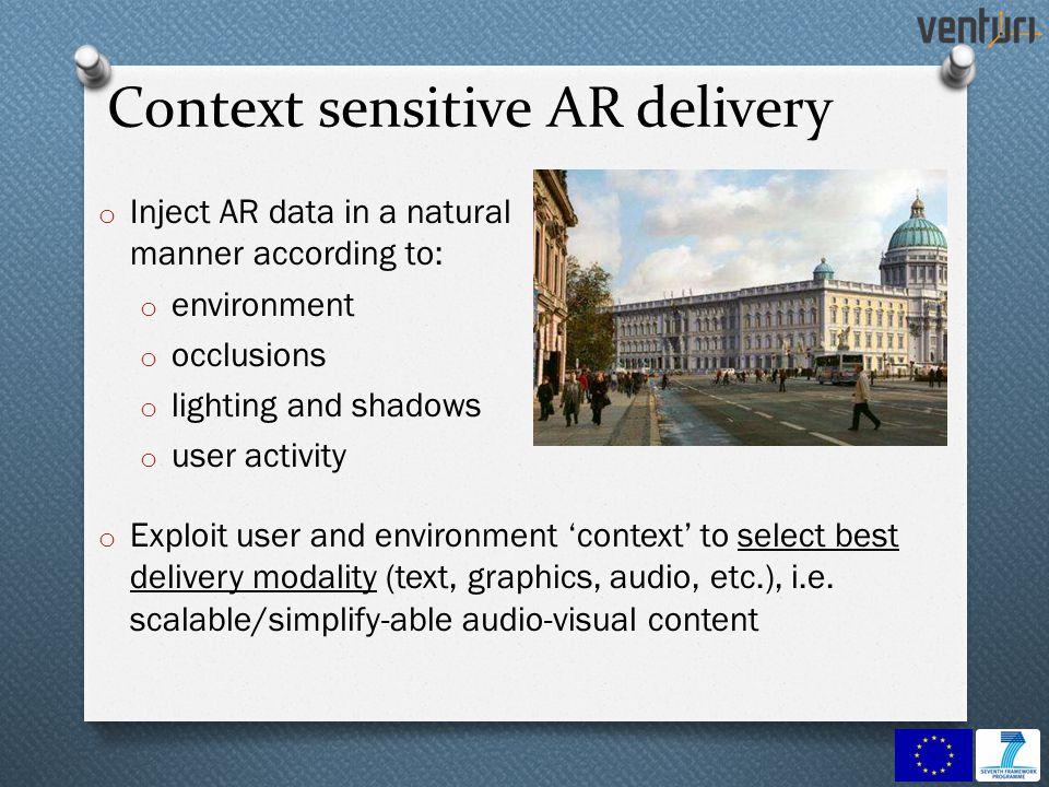 Context sensitive AR delivery o Inject AR data in a natural manner according to: o environment o occlusions o lighting and shadows o user activity o E
