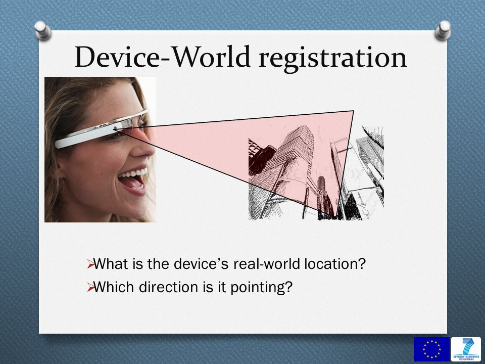 Device-World registration What is the devices real-world location? Which direction is it pointing?