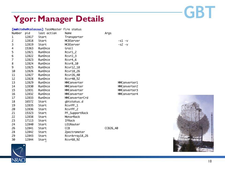 GBT 18 Ygor: Manager Details