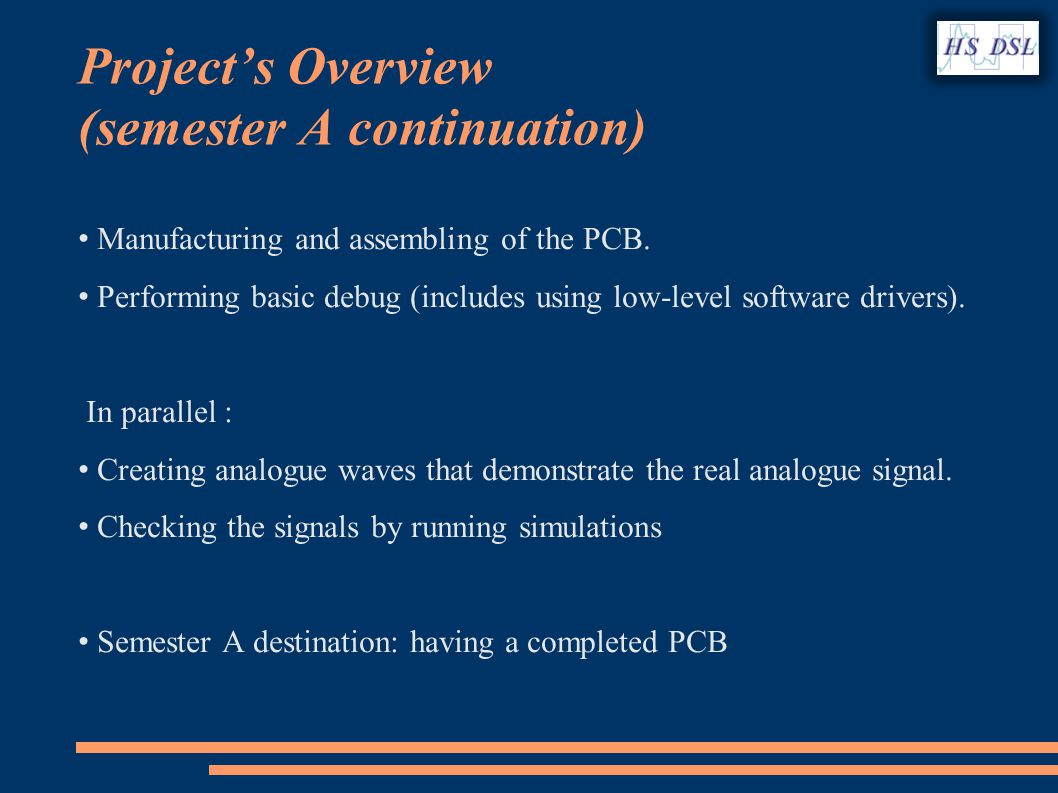 Projects Overview (semester A continuation) Manufacturing and assembling of the PCB.