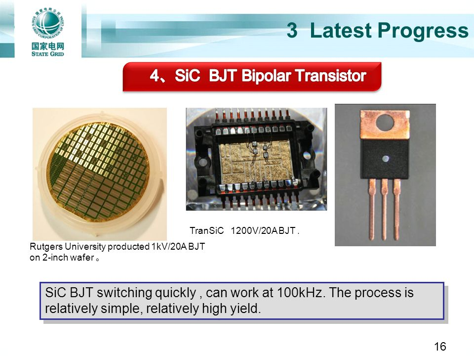 3 Latest Progress Rutgers University producted 1kV/20A BJT on 2-inch wafer TranSiC 1200V/20A BJT. SiC BJT switching quickly, can work at 100kHz. The p