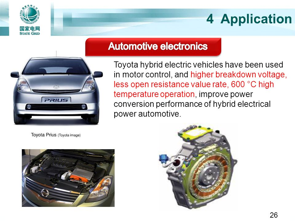 Toyota hybrid electric vehicles have been used in motor control, and higher breakdown voltage, less open resistance value rate, 600 °C high temperatur
