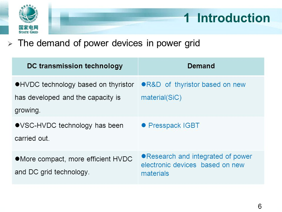 1 Introduction DC transmission technologyDemand HVDC technology based on thyristor has developed and the capacity is growing. R&D of thyristor based o