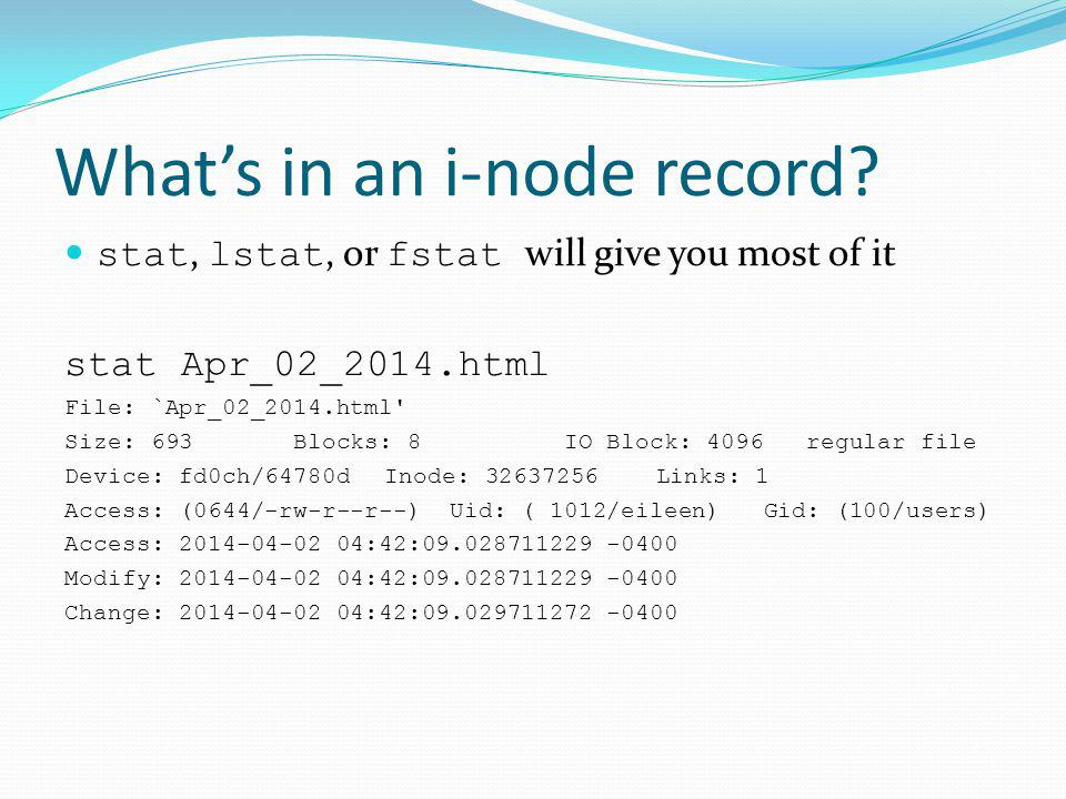 Whats in an i-node record.