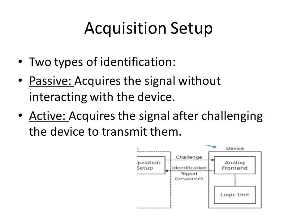 Acquisition Setup Two types of identification: Passive: Acquires the signal without interacting with the device.