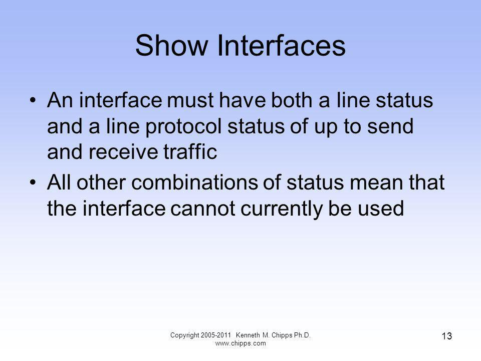 Show Interfaces An interface must have both a line status and a line protocol status of up to send and receive traffic All other combinations of status mean that the interface cannot currently be used Copyright Kenneth M.