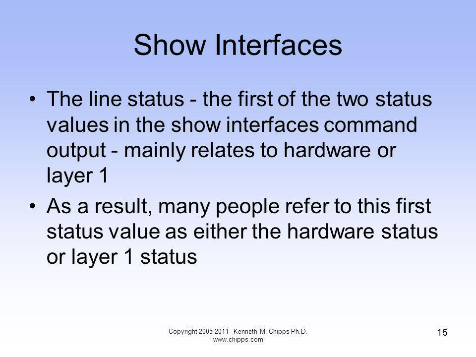Show Interfaces The line status - the first of the two status values in the show interfaces command output - mainly relates to hardware or layer 1 As a result, many people refer to this first status value as either the hardware status or layer 1 status Copyright Kenneth M.
