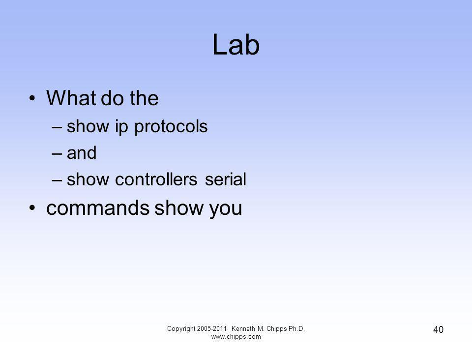 Lab What do the –show ip protocols –and –show controllers serial commands show you Copyright 2005-2011 Kenneth M.