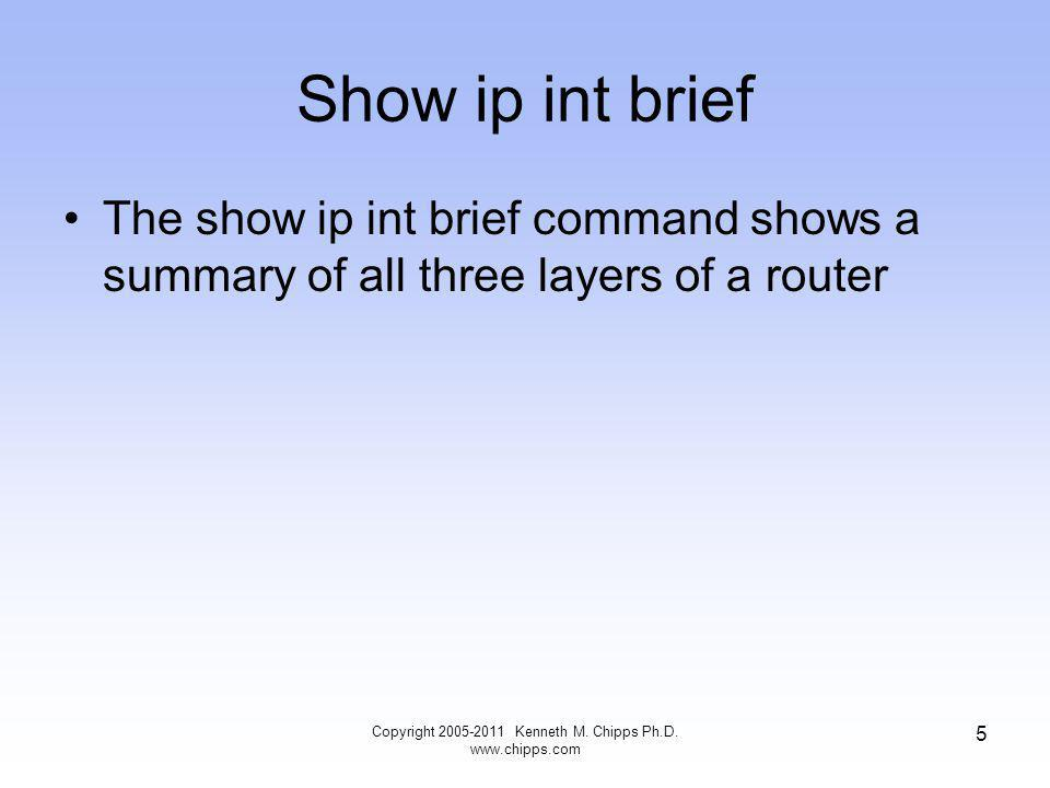 Show ip int brief The show ip int brief command shows a summary of all three layers of a router Copyright 2005-2011 Kenneth M.