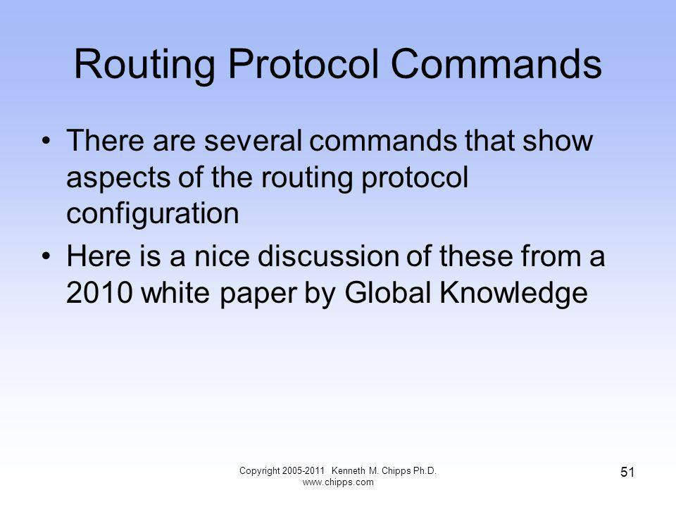 Routing Protocol Commands There are several commands that show aspects of the routing protocol configuration Here is a nice discussion of these from a 2010 white paper by Global Knowledge Copyright Kenneth M.