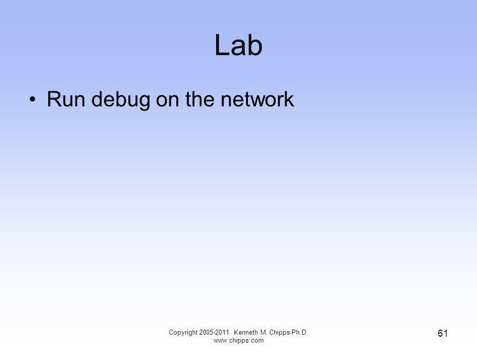 Lab Copyright 2005-2011 Kenneth M. Chipps Ph.D. www.chipps.com 61 Run debug on the network