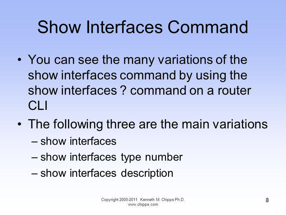 Show Interfaces Command You can see the many variations of the show interfaces command by using the show interfaces .