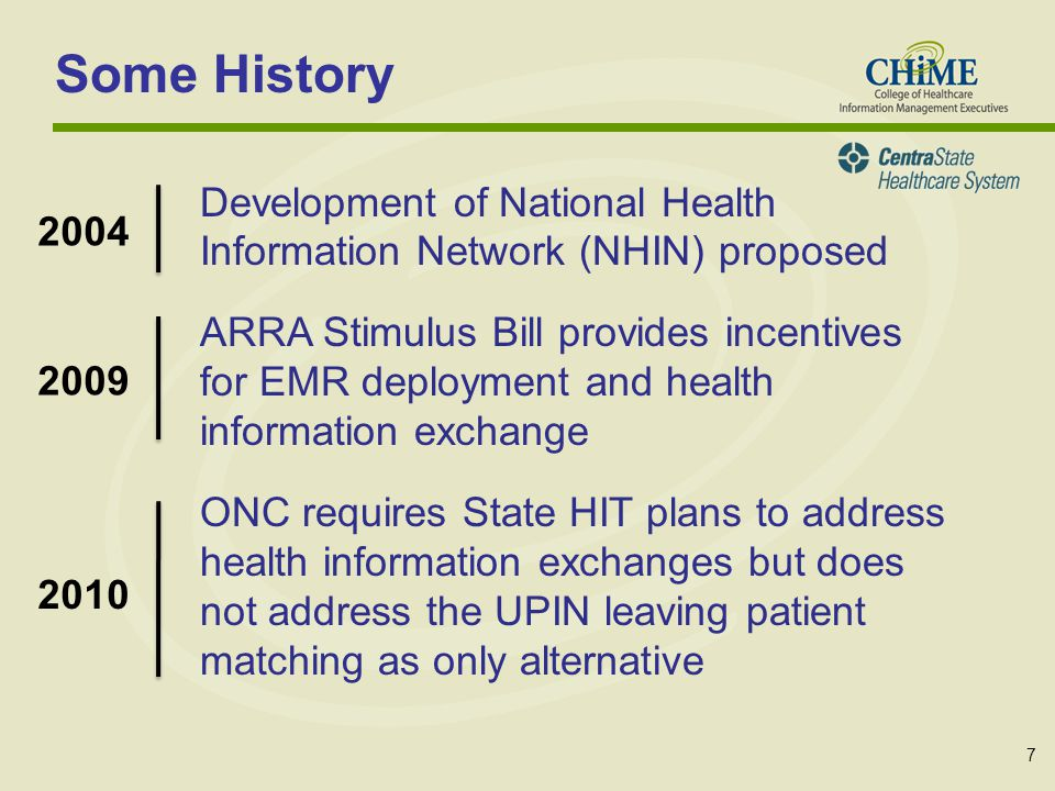 7 Some History Development of National Health Information Network (NHIN) proposed ARRA Stimulus Bill provides incentives for EMR deployment and health information exchange ONC requires State HIT plans to address health information exchanges but does not address the UPIN leaving patient matching as only alternative 2004 2009 2010