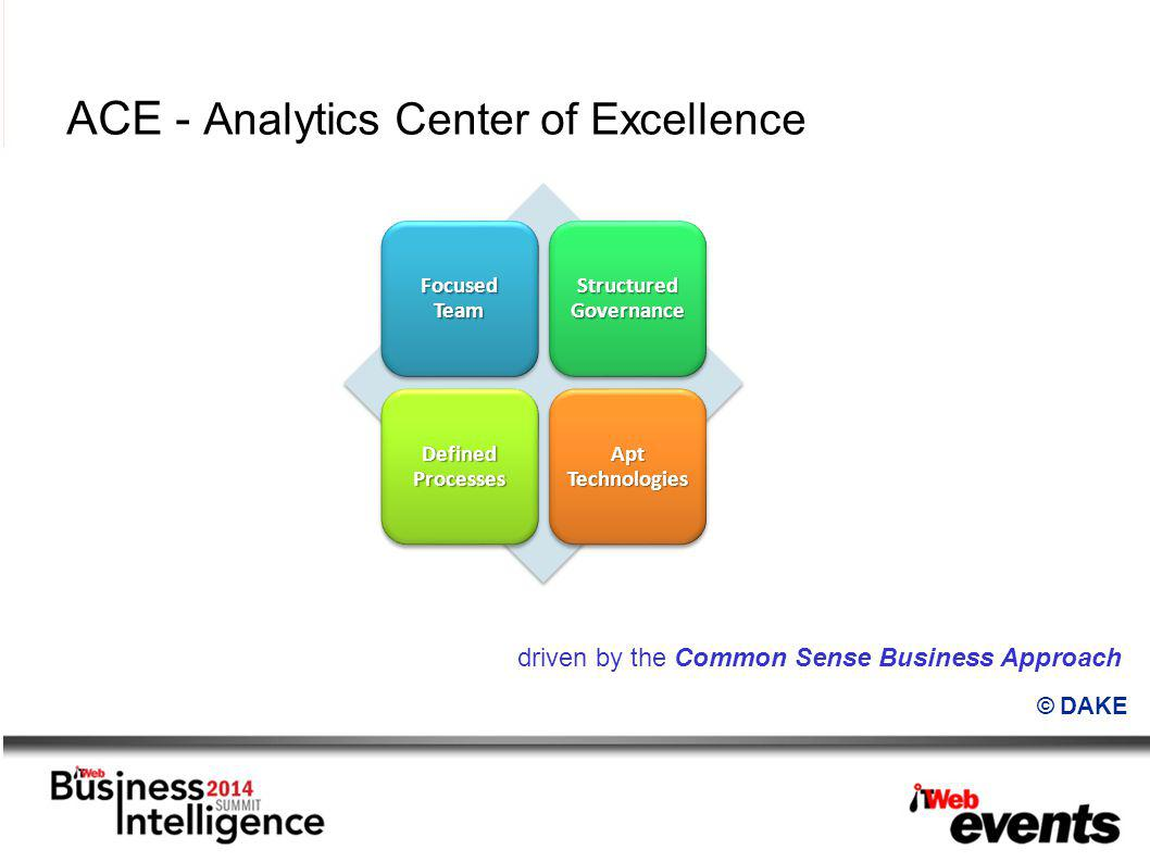 ACE - Analytics Center of Excellence driven by the Common Sense Business Approach Focused Team Structured Governance Defined Processes Apt Technologies © DAKE