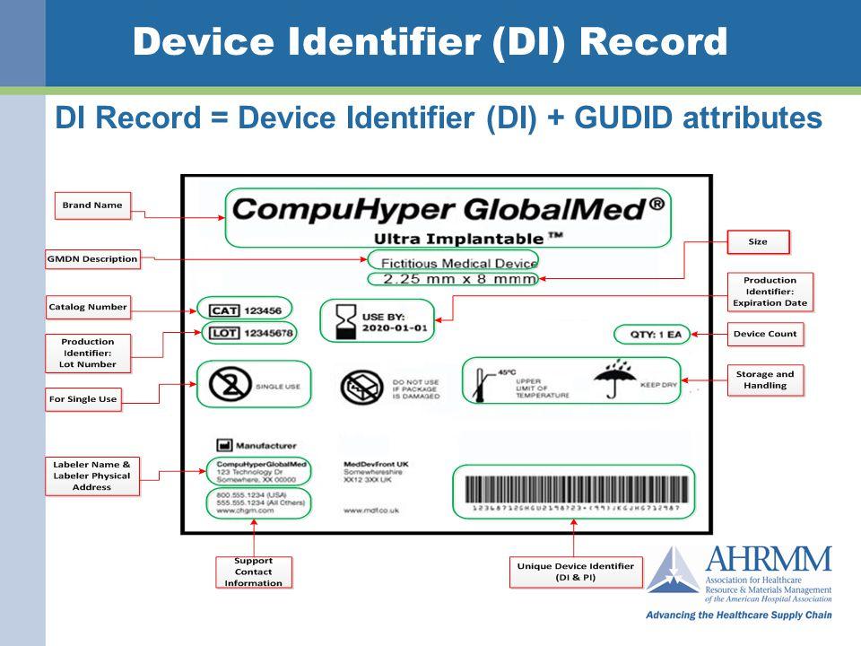 Device Identifier (DI) Record DI Record = Device Identifier (DI) + GUDID attributes FDA\CDRH\OSB\Inform atics Staff 16